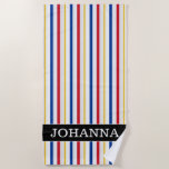 [ Thumbnail: Name + Ice Hockey Arena Rink-Inspired Stripes Beach Towel ]