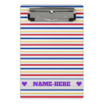 [ Thumbnail: Name + Ice Hockey Arena Rink-Inspired Stripes Clipboard ]