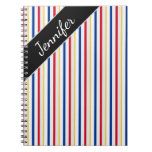 [ Thumbnail: Name + Ice Hockey Arena Rink-Inspired Stripes Notebook ]