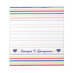[ Thumbnail: Name; Ice Hockey Arena Rink-Inspired Stripes Notepad ]
