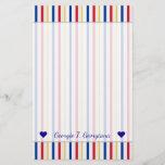 [ Thumbnail: Name + Ice Hockey Arena Rink-Inspired Stripes Stationery ]