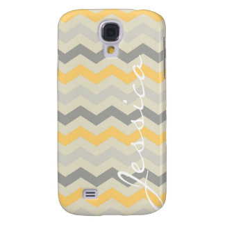 Name id gray yellow chevron zigzag zig zag pattern samsung galaxy s4 cover