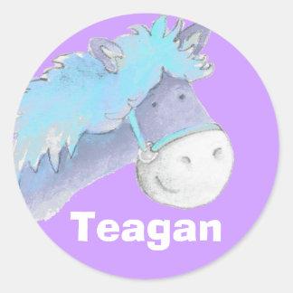 "Name ID ""Teagen blue purple horse stickers"