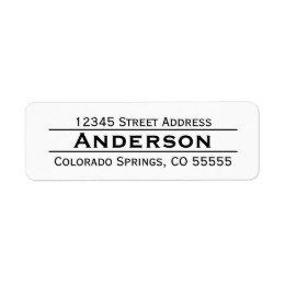 simple minimalist basic shipping address return address labels