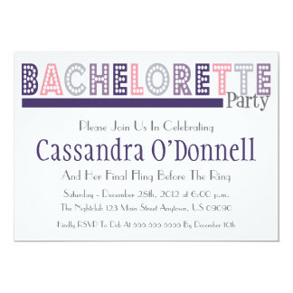 Name In Lights Bachelorette Party Invites (Plum)