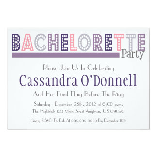Name In Lights Bachelorette Party Invites (Purple)