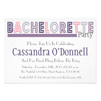 Name In Lights Bachelorette Party Invites Purple