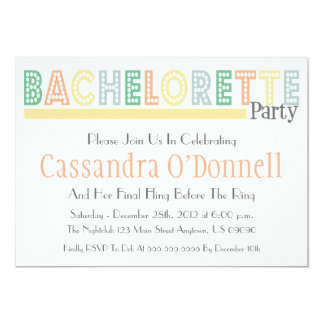 Name In Lights Bachelorette Party Invites (Yellow)