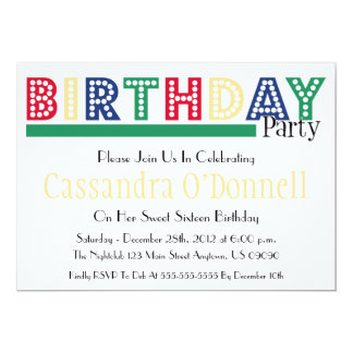 Name In Lights Birthday Party Invitations (Green)