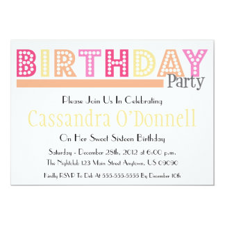 Name In Lights Birthday Party Invitations (Orange)