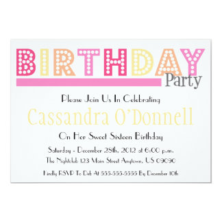 Name In Lights Birthday Party Invitations (Pink)