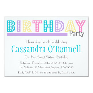Name In Lights Birthday Party Invitations (Purple)