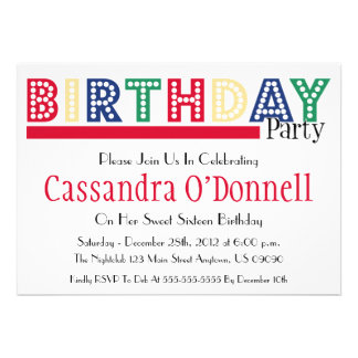Name In Lights Birthday Party Invitations (Red)