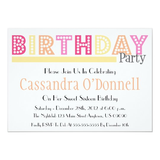 Name In Lights Birthday Party Invitations (Yellow)