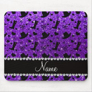 Name indigo purple glitter cowboy boots hats mouse pad