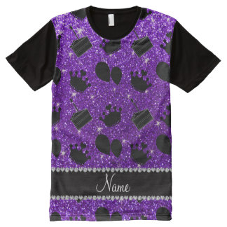 Name indigo purple glitter crowns balloons cake All-Over-Print shirt