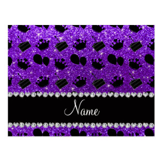Name indigo purple glitter crowns balloons cake postcard