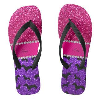 Name indigo purple glitter dachshunds pink glitter flip flops