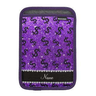 Name indigo purple glitter dollar signs iPad mini sleeve