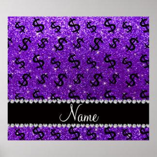 Name indigo purple glitter dollar signs poster