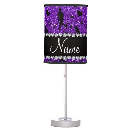 Name indigo purple glitter field hockey hearts bow desk lamps