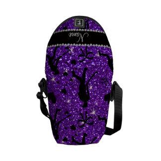 Name indigo purple glitter field hockey hearts bow courier bags
