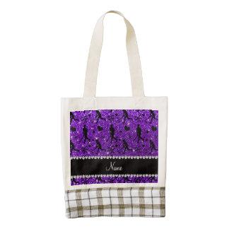 Name indigo purple glitter field hockey hearts bow zazzle HEART tote bag