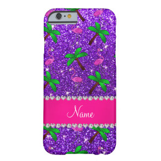 Name indigo purple glitter flamingos palm trees barely there iPhone 6 case