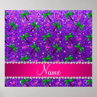 Name indigo purple glitter flamingos palm trees poster