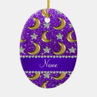 Name indigo purple glitter gold moons silver stars ceramic ornament