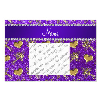 Name indigo purple glitter gold roses hearts photo print