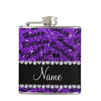 Name indigo purple glitter happy birthday balloons hip flask