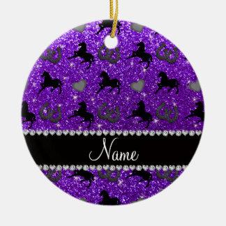 Name indigo purple glitter horses hearts horseshoe ceramic ornament