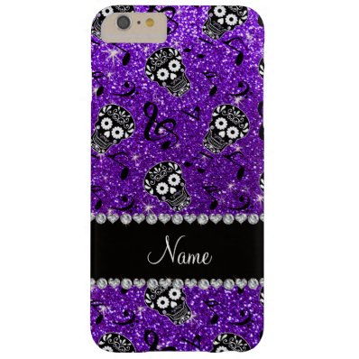 Name indigo purple glitter music note sugar skulls barely there iPhone 6 plus case