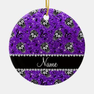 Name indigo purple glitter music note sugar skulls ceramic ornament