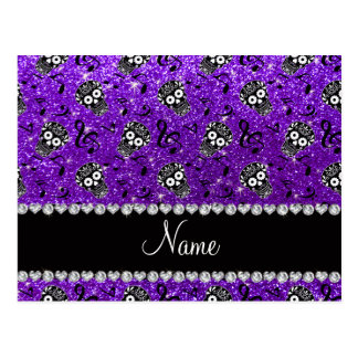 Name indigo purple glitter music note sugar skulls postcard