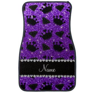 Name indigo purple glitter princess crowns diamond car mat