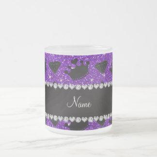 Name indigo purple glitter princess crowns diamond mugs