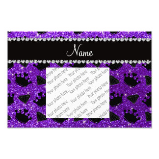 Name indigo purple glitter princess crowns diamond photo print