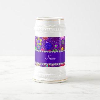 Name indigo purple glitter retro flowers beer stein