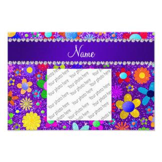 Name indigo purple glitter retro flowers photo print