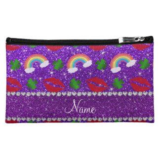 Name indigo purple glitter shamrocks rainbows kiss makeup bags