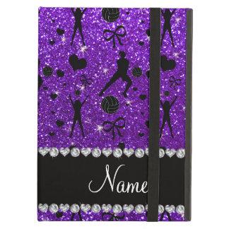 Name indigo purple glitter volleyballs hearts bows iPad air case