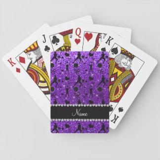 Name indigo purple glitter volleyballs hearts bows card deck