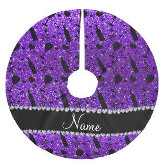 name indigo purple glitter wine glass bottle brushed polyester tree skirt