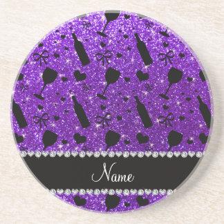 name indigo purple glitter wine glass bottle beverage coasters