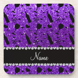 name indigo purple glitter wine glass bottle coaster