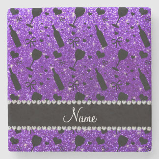name indigo purple glitter wine glass bottle stone coaster