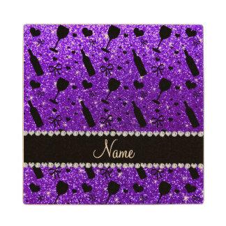 name indigo purple glitter wine glass bottle maple wood coaster