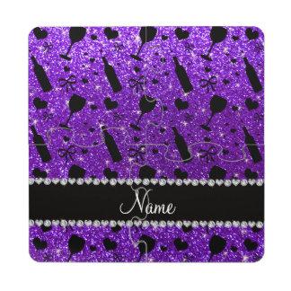 name indigo purple glitter wine glass bottle puzzle coaster
